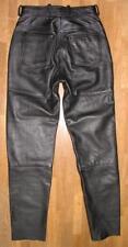 HEIN GERICKE Damen- LEDERJEANS / Biker- Lederhose schwarz mit RED ZIPPER ca. 36