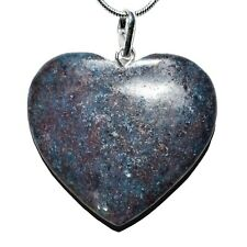 """CHARGED Himalayan Blue Kyanite / Ruby Crystal HEART Pendant + 20"""" Silver Chain"""