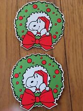 Vintage Hallmark Christmas Snoopy Santa Wreath Decal Gift Tag Card flocked Rare