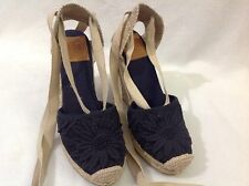 Tory Burch Ankle Lace Navy Canvas Closed Toe Espadrille Jute Wedges Flower 6.5