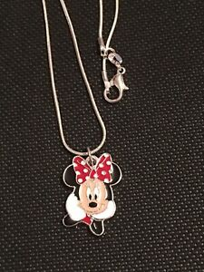 Minnie Mouse Face Red Pendant Necklace -  925 Sterling Silver Chain