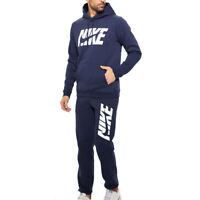 Nike Air NSW Mens Navy Blue Graphic Cuffed Fleece Sports Gym Full Tracksuit Set