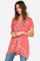 💕JOHNNY WAS Embroidered MIKONES Partial Button Tunic Blouse Scalloped S $260 💕