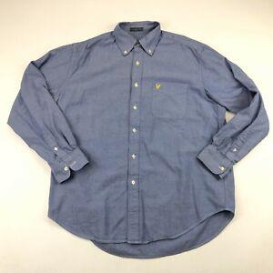Lyle Scott Mens Blue Chambray Button Down Oxford Shirt Large