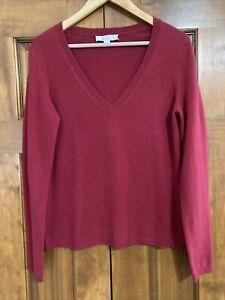 Ladies Caslon Burgundy V-neck 100% Cashmere Sweater size Large L New