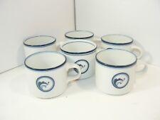 6 Dansk Navy Blue White FLORA BAYBERRY Short Coffee Cups Appearing Unused Japan
