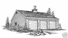 36 x 24 - Three Car Garage Building Plans Blueprints