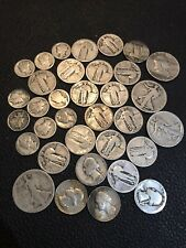 1 ounce 90% Junk Silver Cull, Damaged,Slick,No Date dimes Quarters Halves #731r4