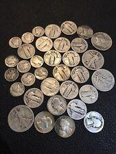 1 ounce 90% Junk Silver Cull, Damaged,Slick,No Date dimes Quarters Halves #731r4