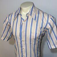 Vtg 50s 60s ARROW Shirt Perma Belmont Club Sanforized Stripe S/S Disco MENS 16.5