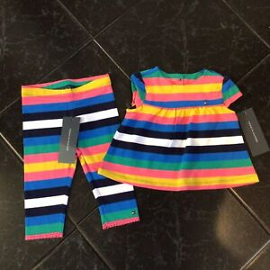 BN W/Tags 2pc. Lot Of Baby Girls Outfit By Tommy Hilfiger 6-9M