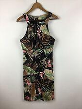 Dressbarn Womens 12 Dress Tropical Palm Leaf Print Empire Waist Stretch Career