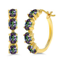 4.00 Ct Oval Green Mystic Topaz 18K Yellow Gold Plated Silver Hoop Earrings