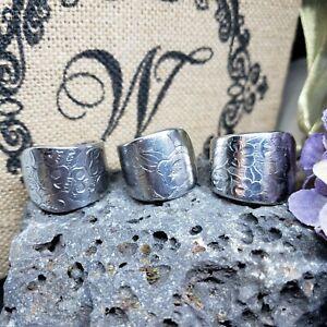 Spoon Ring Handmade, silver  6-15 men women stainless Peace sign flower band