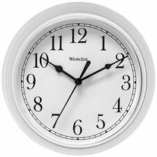 Westclox White 9 Inch Diameter Decorative Wall Clock SecondHand Battery Operated