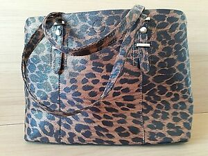 """M&S Woman's Brown Mix Animal Print Tote/Handbag 6 compartments 14"""" wide 10"""" high"""