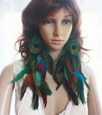 43a-12 Peacock  Natural Feather Earrings 1 pair length 28cm--31CMj