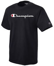CHAMPION Mens T-Shirt SCRIPT LOGO Regular Fit BLACK Streetwear Skate $40 NEW