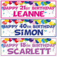 2 PERSONALISED BIRTHDAY BANNERS- 1st 18th 21st 30th 40th - ANY NAME ANY AGE