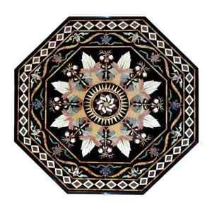 "48"" Marble Dining Table Top Semi Precious Stones Art Inlay Work"
