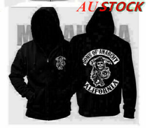 AU Men's Sons Of Anarchy Back Printed Zipped sweater Fashion Hoodie Coat NEW