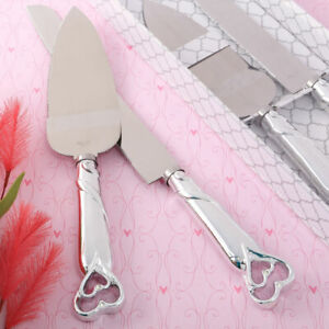 Double Heart Silver Wedding Cake Cutting Knife and Server Set