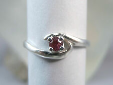 RUBY - Genuine Red Petite Pinky & July Birthstone .925 Sterling Silver Ring