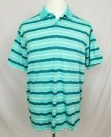 Nike Golf Dri-Fit Mens Large Short Sleeve Polo Shirt Striped Blue-Green EUC