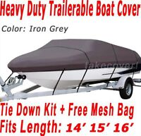 14' - 16' V-Hull Fish - Ski Boat Cover CQ Trailerable Grey Color BF10033G1