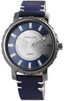 Herrenuhr Silber Blau Metall Leder Quarz Armbanduhr X-2900043-004