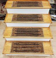 "Rug Depot Set of 13 Contemporary Non Slip Carpet Stair Treads 26"" x 9"" Biege"