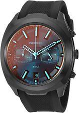 NIB Diesel Mens Tumbler Chronograph Iridescent Black Silicone Strap Watch DZ4493