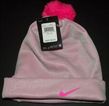 NIKE Girls Youth Swoosh Beanie Pom Cuffed Winter Hat Pink Kids 7/16 NWT $20