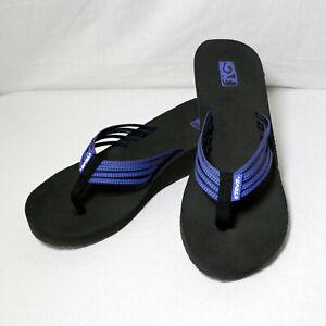 Teva Mush Adapto Wedge Blue Thong Flip-Flops Strappy Sandals Women's Size 9