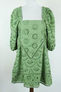 FREE PEOPLE BNWT Green Embroidered Short Sleeve Women Tunic/Dress Size EU XS