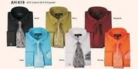 Men's fashion Dress Shirt With Tie&Hanky French Cuff Links Style AH619