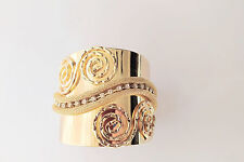 Vogue Shiny Gold Plated Metal Mesh Swirl Clear Crystal Design Cuff Bracelet
