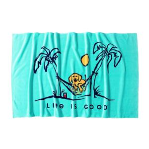 Life is Good. Beach Towel: LIG Dog Hammock, Bermuda Blue