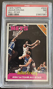 1975 Topps, #300, HOF Julius Erving All-Star, New Jersey Nets, PSA 7 NM