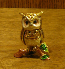 Jeweled Trinket Box J543 OWL on BRANCH, NEWBox From Retail Store, by Welforth