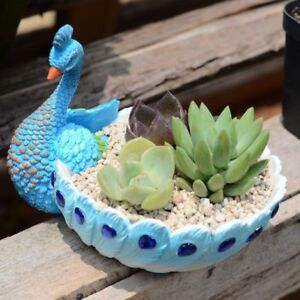 Flower Pot Resin Blue Peacock Fleshy Container Ornaments Creative Home Decor