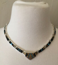 Navajo Style Silver Continual Inlaid Turquoise & Gem Necklace by David Rosales