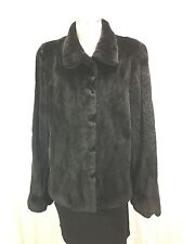 FREE SHIPPING, FLUFFY,SILKY, WOOLLY REAL U S BLACK PLUCKED MINK FUR LADY JACKET
