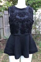 Zara-Basics-Womens-Black-Embroidered-Sleeveless-Peplum-Top-Open back -M