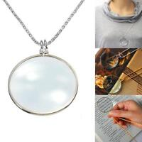 Magnifying Glass 6x Magnifier Pendant Loupe Golden Silver Chain Monocle Necklace