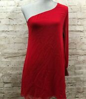 City Triangles Women's Small Red Shiny One Shoulder Party Cocktail Dress Mini