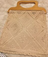 Vintage Fine Crocheted Ivory Bag With Wooden Handles.