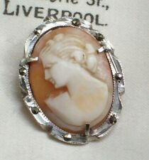 VINTAGE JEWELLERY ITALIAN CARVED SHELL CAMEO 800 SILVER LADY BROOCH/PENDANT