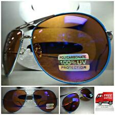 Mens or Women CLASSIC RETRO VINTAGE Style SUN GLASSES SHADES Silver & Blue Frame