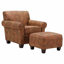 Portfolio Mira 8-way Hand-tied Paisley Arm Chair and Ottoman Accent Home Decor